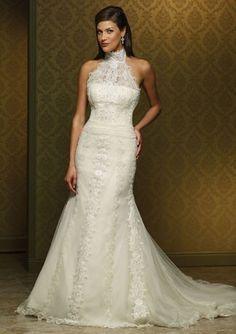 High Neck Mermaid/Trumpet Chapel Train Ivory Organza Wedding Dress~NYC