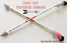 Easy step-by-step tutorial to make a feather arrow to use in your Valentine's Day decor. Put two together to make the crossed arrows as shown.