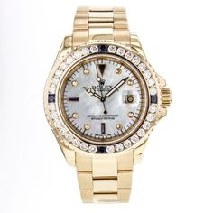 Rolex Yacht-Master 16628 MOP Diamond & Sapphire Dial & Bezel 18k Gold Mens Watch #Rolex #LuxurySportStyles