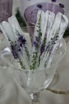 Herb ice cubes ... Lavender. Sage.. Basil.. Rosemary .. Lemon peel.. Mint