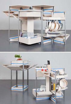 Mobile Kitchen Design Compact hidden storage