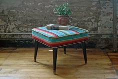 Vintage Square Mid Century Footstool with by territoryhardgoods, $145.00