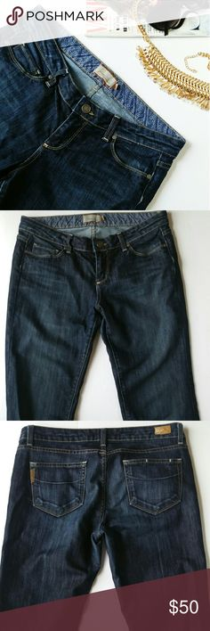 """Paige Jeans Very nice dark wash denim Paige jeans. Very nice like new condition. 80% cotton 40% polyester Waist 36.5"""" Inseam 34.5"""". Minimal wear at hem Paige Jeans Jeans Flare & Wide Leg"""