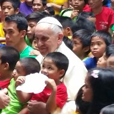 """""""Let the children come to me"""". Pope Francis while in Manila, Philippines (Jan. 16, 2015) #PapalVisit #PopeInPH #WelcomePopeFrancis"""