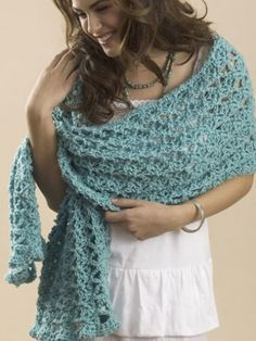 One Skein Summer Wrap/Shawl: free easy level pattern.