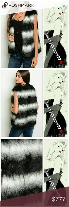 """❤2 LEFT ❤""""FOXY"""" Statement Faux fur vest Boutique, no tags This fully lined faux fur vest is soft and sassy!! Stunning striped black and white with gray tinted faux fur. Pair with leggings and an oversized sweater or over a dress with thigh high boots, could be worn with jeans and a top. Styling options are endless. A MUST HAVE! One size Length 25.5"""" Bust 21"""" across Material 100% acrylic Price is firm Jackets & Coats Vests"""