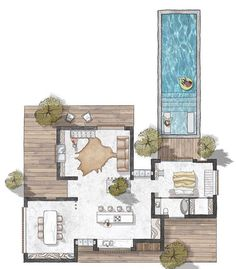 """USA Sketches 🇺🇸 on Instagram: """"Lake house by @sa_yu_architects . For More follow  @vogue_architect"""" Pool House Plans, Lake House Plans, Small House Plans, Interior Design Presentation, Presentation Boards, Architectural Presentation, Architectural Models, Architectural Drawings, Floor Plan Drawing"""