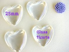 100 Clear Glass Tiles Hearts Cabochons Domes by theglassconnection, $35.00