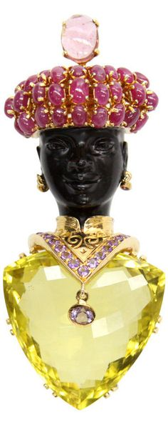 Jarin Lemon Citrine Blackamoor Brooch Awesome Signed Jarin Blackamoor Pin,  Large Faceted Lemon Citrine stone Body, encrusted Ruby Headdress and amethysts around the neck; gilt sterling silver; black enameled face