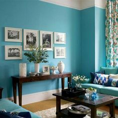 Amazing Blue Living Room Paint Colors with Table and Blue Sofas Living Room Turquoise, Teal Living Rooms, Living Room Decor, Turquoise Bedrooms, Living Area, Cozy Living, Coastal Living, Dining Rooms, Dining Table