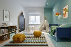 Une manière inédite de jouer sur la couleur et d'apporter de la profondeur à une pièce un peu étroite.