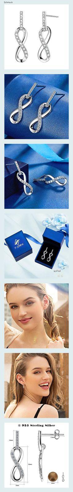 F.ZENI Unendlichkeit Ohrringe Damen 925 Sterling Silber Ohrhänger Für immer Liebe Akzent Modeschmuck für Frauen Mädchen mit Schmuck Geschenk - 14hc