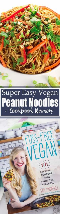 These vegan peanut noodles are so delicious and come together super quickly. 15 minutes is all you need! They make such an easy and delicious vegan dinner or healthy lunch!