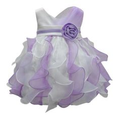 Baby Girls White Lilac Rolled Floral Adorned Waterfall Flower Girl Dress 6-24M - Walmart.com