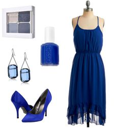 Blue Bridesmaids but with black or champagne colored accessories
