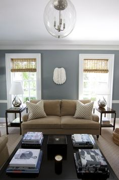 Grey and Tan Living Room Inspiration Morrison Fairfax Interiors: Lovely blue and brown living room with steel blue walls paint color with glossy white . Brown And Blue Living Room, Beige Living Rooms, Living Room Color Schemes, Paint Colors For Living Room, Living Room Designs, Colour Schemes, Blue Living Room Walls, Brown Carpet Living Room, Bedroom Colors