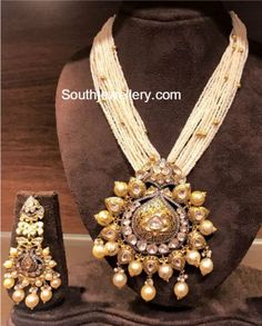 Multistring Pearls Mala with Polki Pendant - Indian Jewellery Designs Indian Wedding Jewelry, Indian Jewelry, Bridal Jewelry, Beaded Jewelry, Gold Jewelry, Diamond Jewelry, Cz Jewellery, Ethnic Jewelry, Indian Bridal