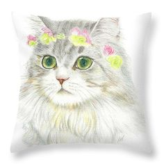 A Bohemian Princess With Flower Hair Garland Throw Pillow by Jingfen Hwu  $27