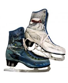 Hand Painted Ice Skates Lodge Decoration by Annelies Taylor