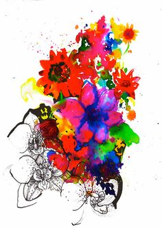 Inky Flowers // A4 Giclée Print // Illustration by MarcellaWylie, £25.00