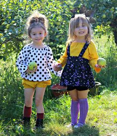 How gorgeous are these outfits for apple picking or fall family photos! Many other toddler girl fashions at Gabriella's Designs are available.