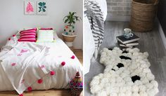 Pompons para decorar Toddler Bed, Furniture, Home Decor, Home Furnishings, Pom Poms, Decorating Ideas, Environment, Creativity, Everything