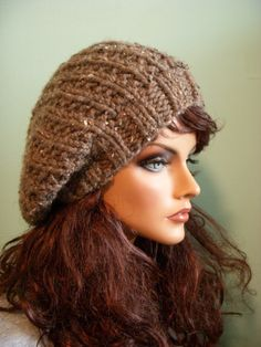 Slouchy Knit Hat, Brown Tweed Beret, Knit Slouch Tam Beanie on Etsy, $30.00