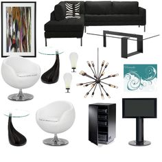Black and white is always a classic design combination - dress up your entertainment room with this stylish color combo #blackandwhite #black #white #moderndesign #projectdecor #panachedesign #interiordesign #homedecor