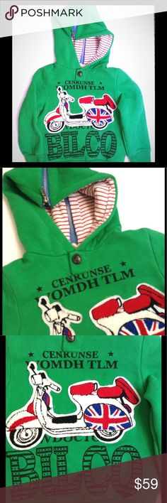 🆕 Unique Kids Foreign Hoodie, Hooded Sweatshirt Unisex Children's Hooded Sweatshirt, Hoodie, Shirt: I was able to confirm Mandarin, German and Scots Gaelic dialects but unable to get an accurate translation. Size 110, which in my opinion, fits a 4T-6 (4-6) Very roomy, thick and comfy. Red, white candy cane stripes line the hood, which zips back to open for cape collar. British Moped patch on front.  In excellent used condition.🌟Sold as is. ☘ PLEASE READ CLOSET  POLICES PRIOR TO PURCHASE☘…