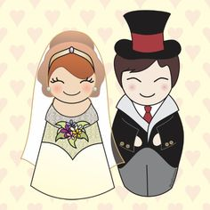 Kokeshi Wedding Couple / Pendientera