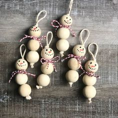 Wood Bead Snowman Ornaments diy and crafts ideas Christmas Ornament Crafts, Snowman Ornaments, Christmas Crafts For Kids, Christmas Trees, Ornaments Ideas, Wood Ornaments, Beaded Ornaments, Kid Made Christmas Gifts, Handmade Ornaments