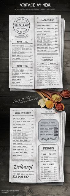Vintage A4 Menu - Food Menus Print Templates Download here : https://graphicriver.net/item/vintage-a4-menu/18786594?s_rank=144&ref=Al-fatih