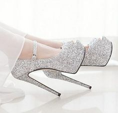 a beautiful shiny shoes for party White Heel Boots, Shoes Heels Boots, Bride Shoes, Prom Shoes, Fashion Heels, Fashion Boots, Peep Toe Heels, Stiletto Heels, Wedge Wedding Shoes