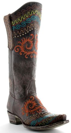 chocolate old gringo boot. wicked purple boutique. love the riding inspired look $100 off!