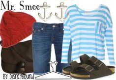 disneybound. Mr Smee. Peter Pan. Striped short. Denim Jean shorts. Red beanie.