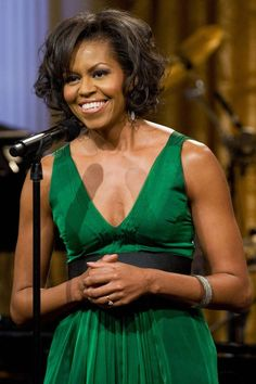 February 26, 2009 Mrs. Obama looks flawless in an emerald Kai Milla dress while hosting the Stevie Wonder In Performance at The White House: The Library of Congress Gershwin Prize event.