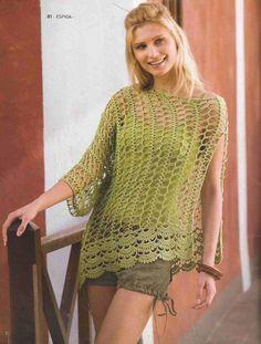 #31 Blusa Calada Verde a Crochet o Ganchillo