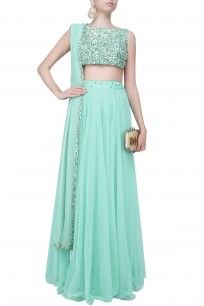Baby Blue Pearls And Sequins Embellished Crop Top And Flared Lehenga Set