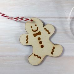 Wooden Engraved Gingerbread Man Christmas Tree Ornament / Decoration by Jellypress on Etsy