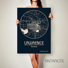 Lawrence Kansas Canvas Map Lawrence Kansas Poster City Map Lawrence Kansas Art Print Lawrence Kansas Poster Lawrence Archtravel