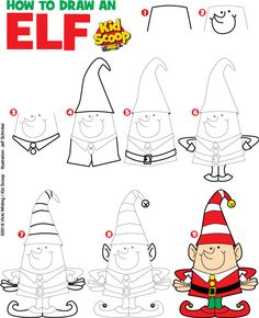 How to Draw an Elf Easy Christmas Drawings, Christmas Artwork, Christmas Doodles, Christmas Paintings, Doodle Drawings, Easy Drawings, Doodle Art, Diy Christmas Fireplace, Santa Paintings
