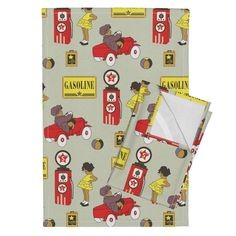 Orpington Tea Towels featuring red car-01 by sissi-tagg
