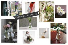 Hashtag Deco: Test de DIY, l'ampoule recyclée en petit vase Table Decorations, Furniture, Home Decor, Small Vases, Vintage Decor, Light Bulb, Deco, Decoration Home, Room Decor
