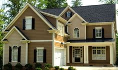 Brown Siding With Red Accent Door House Pinterest