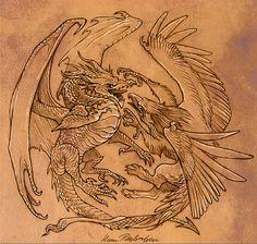 Dragon and Gryphon by KatePfeilschiefter.deviantart.com on @deviantART