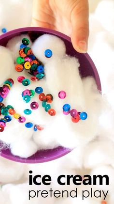 Create an inviting ice cream sensory bin to encourage sensory exploration and pretend play. Use it for your toddler or preschool ice cream theme.