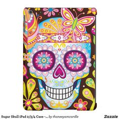 Sugar Skull / Day Of The Dead iPad Air Case.  Artwork by Thaneeya McArdle's Funky Art Gift Shop