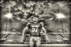high school, senior, football, black and white, HDR