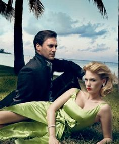 """""""Mad Men"""" actors Jon Hamm and January Jones. Photographed by Annie Leibovitz for """"Don and Betty's Paradise Lost"""" editorial, Vanity Fair August 2009."""