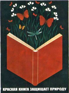 Soviet Environmental Poster. Red Book. Nature